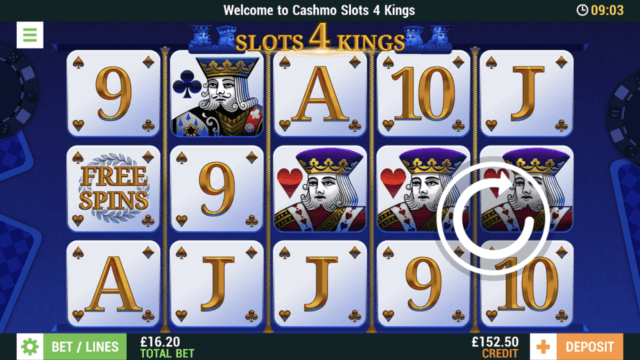 Slots 4 Kings mobile slots screenshot at Cashmo mobile casino