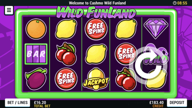 Wild Funland mobile slots screenshot at Cashmo mobile casino
