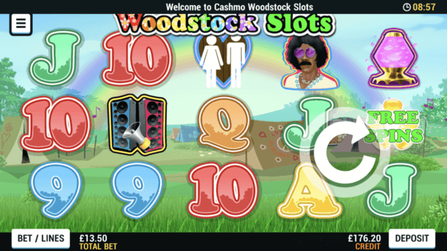 Woodstock Slots mobile slots at Cashmo mobile casino