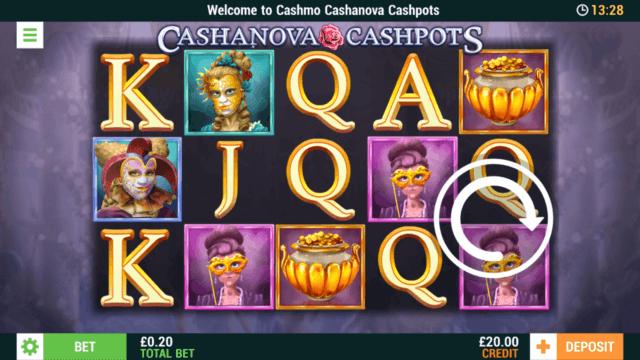 Cashanova Cashpots mobile slots screenshot at Cashmo mobile casino