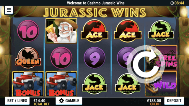 Jurassic Wins mobile slots screenshot at Cashmo mobile casino