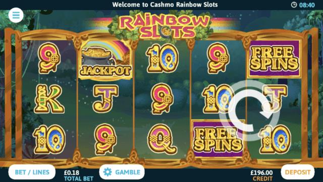 Rainbow Slots mobile slots screenshot at Cashmo mobile casino