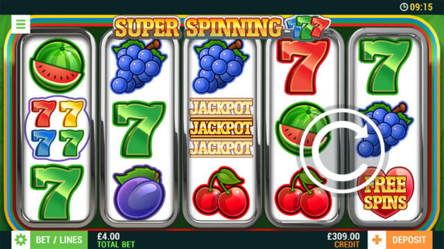 Super Spinning 7s online slots at Cashmo Mobile Casino - in game image