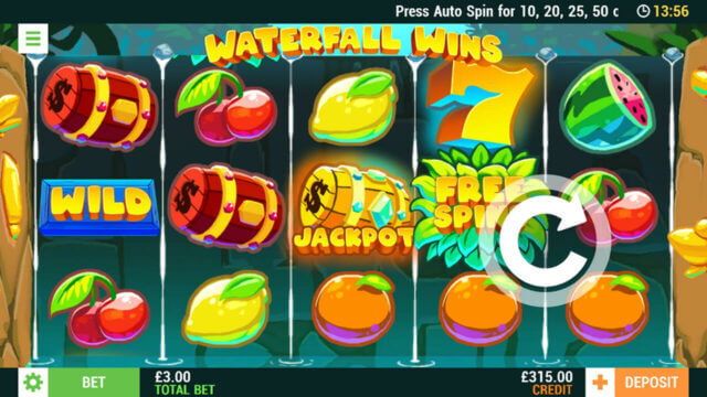 Waterfall Wins mobile slots at Cashmo mobile casino