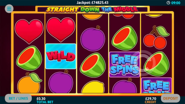 Straight down the middle mobile slots at Cashmo Casino - screenshot