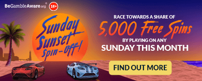 Cashmo Casino's Sunday Sunset Spin-Off promotion - Race towards a share of 5,000 free spins by playing on any Sunday this month