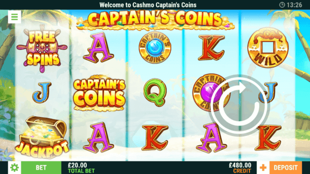 Captain's Coins - Online Slot at Cashmo Casino - In game screenshot